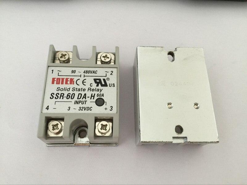 10PCS SSR60DA H SSR 60DA H Manufacturer 60A ssr relay input 3 32VDC output 90 480VAC
