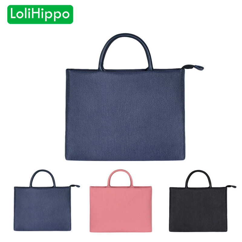 LoliHippo Laptop Hand Held Briefcase Men Women Nylon Notebook Bag for Apple Macbook Huahua 13 14 15 15.6 Inch Black Blue Pink