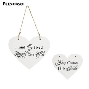 Wooden Heart Here Comes the Bride Sign Plaque For Wedding & Engagement Two Sides Chair Banners Wedding Favors Home Hanging Decor(China)