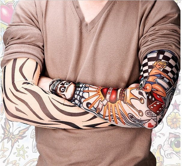 Novelty New mixed Nylon elastic Fake Tattoo temporary tattoos sleeve designs body Arm st ...