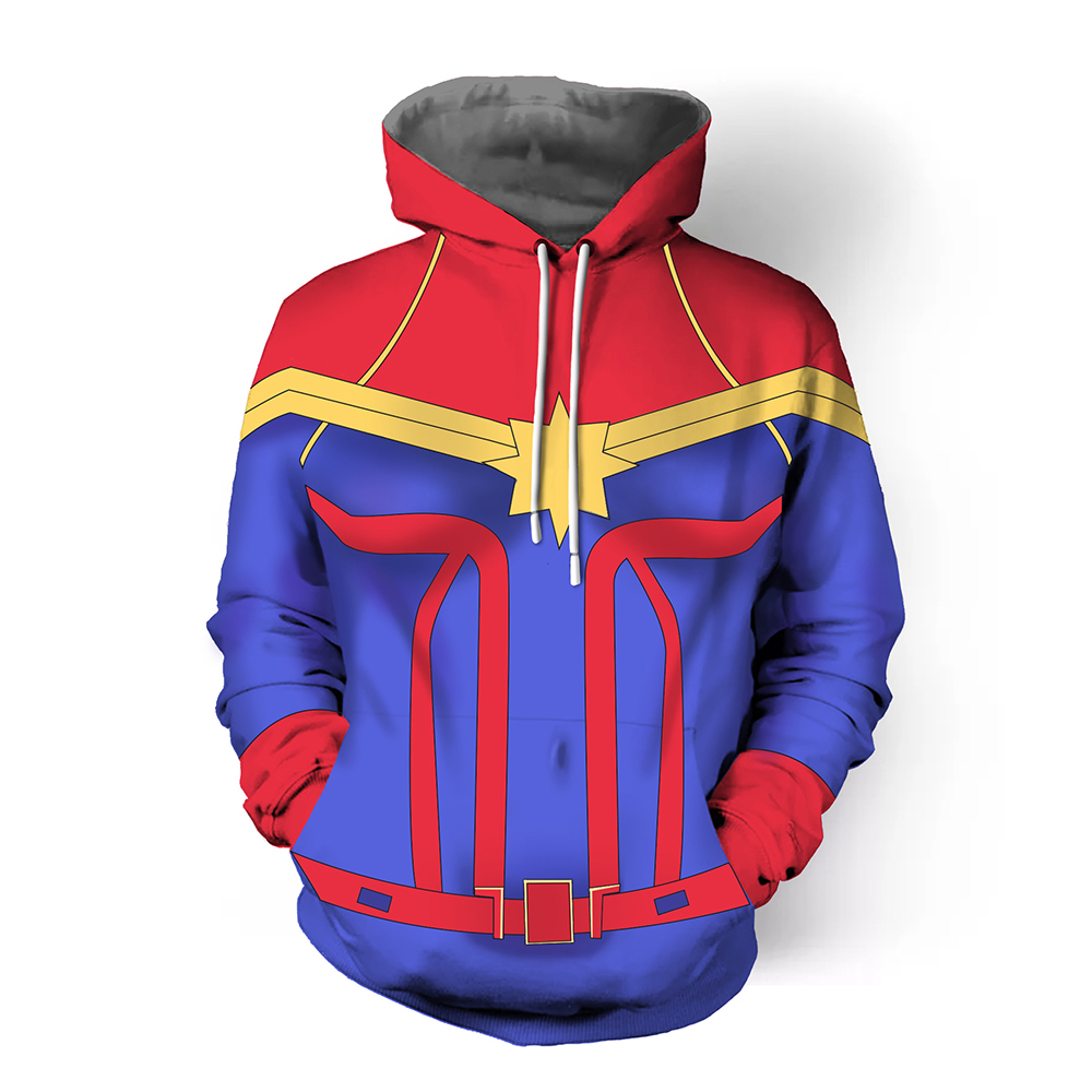 Captain Marvel Hoodies Ms Marvel Carol Danvers Sweatshirts Cosplay Avengers 3 Costume Jackets Tops For Man Woman Coat