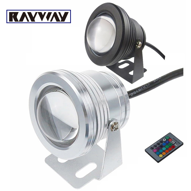 RAYWAY Aluminum 10w cob underwater Lamp IP68 waterproof spotlight white/Warm/RGB Swimming pool Light DC12V LED fountain lighting