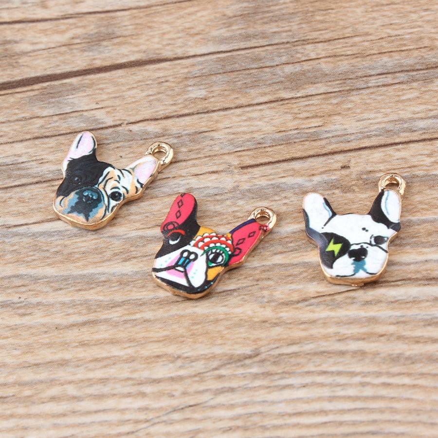 20Pcs/lot French bulldog Enamel Charms Dangle Charms Fit Bracelet Necklace Pendant DIY Jewelry Making
