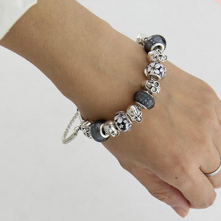 European Style Silver Plated Skull Bracelet Bangle For