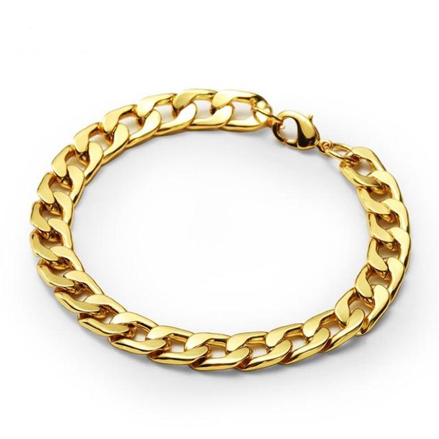 Mens Gold Color Hip Hop Bracelets Thick Cuban Curb Link Bracelet Fine Fashion