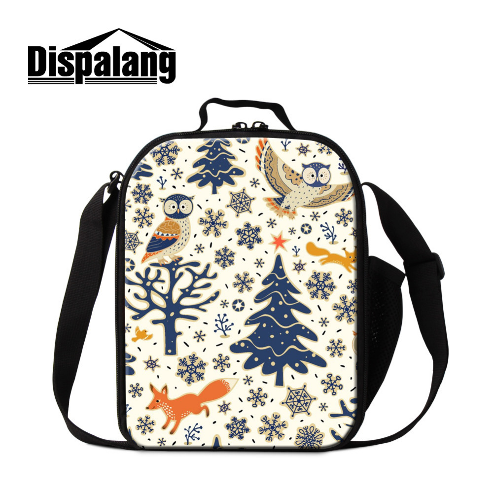 Dispalang Portable Cooler Lunch Bags 3D Owl Snowflake Print Launch Box Insulated Children Thermal Bag Kids Picnic Food Bag
