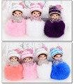 Fashion Monchichi 8cm real rabbit fur pom pom keychain Crystal Monchhichi Dolls pompom Key chain Woman handbag car Charm pendant
