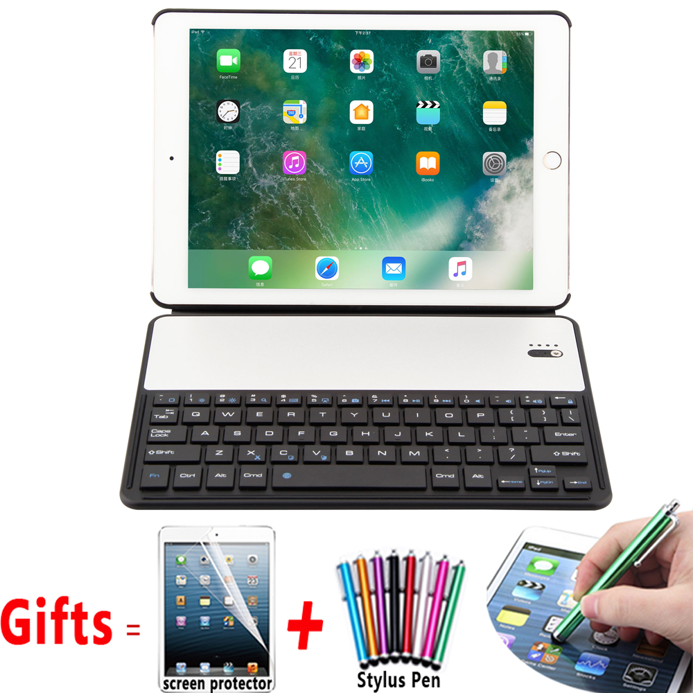 Aluminum Alloy Wireless Bluetooth Keyboard Case Cover for Apple iPad Air 1 2 Pro 9.7 New iPad 9.7 2017 2018 Coque Capa Funda 7 color backlit aluminum alloy wireless bluetooth keyboard smart case cover for apple ipad mini 4 7 9inch a1538 a1550 coque capa