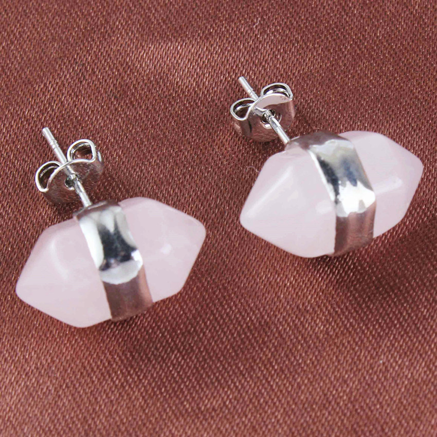 Trendy beads Popular Silver Plated Hexagonal Column Natural Rose Pink Quartz Stud Earrings For Women Party Jewelry in Stud Earrings from Jewelry Accessories