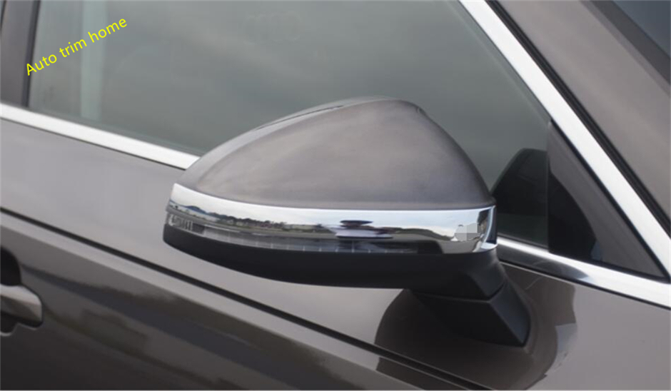 For Audi A4 B9 Sedan / Avant / Allroad Quattro 2016 2017 ABS Door Mirror Protect Strip Streamer Molding Garnish Cover Trim 2 Pcs