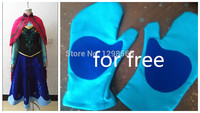 Free Shipping Anna Costume Adult Princess Blue Dress Cosplay Halloween Costumes Party Fantasia Fancy Dress Plus
