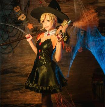 OW  Halloween costume halloween skin Mercy cos dress Angle costume made Free shipping Fan version