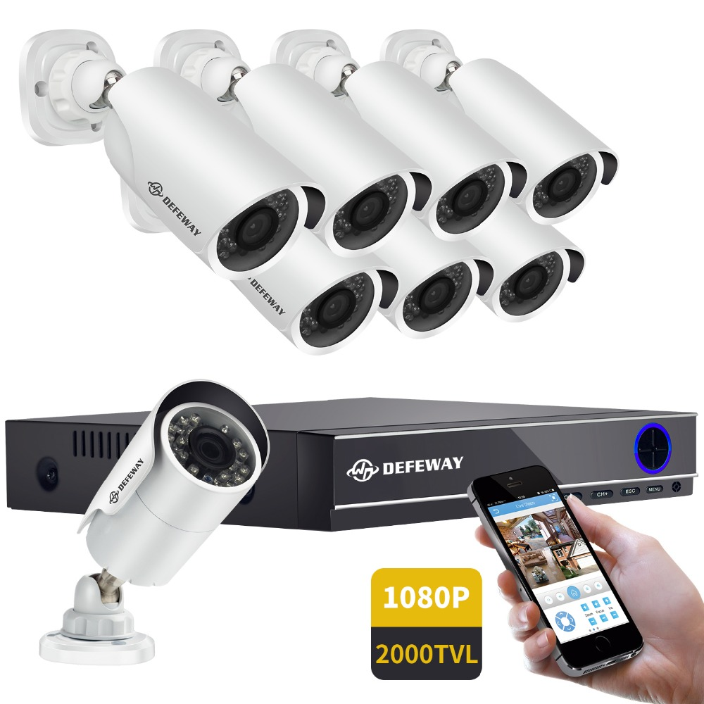 DEFEWAY 16CH 1080 p 2000TVL Outdoor Home Security CCTV Sistema di Telecamere di Video Sorveglianza DVR Kit AHD Camera Set Con 8 telecamere