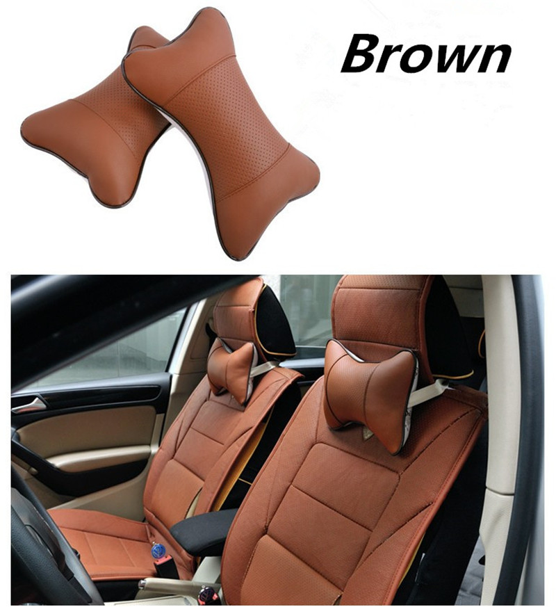 PU Leather Car Headrest Neck Protect Soft Perforating