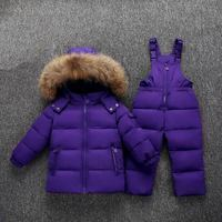 XYF1823 Winter Baby Boy Girl 1 6 Years Warm White Duck Down Jacket Jumpsuit Child Print Thicken Down Jacket Set Kids Coat+Romper