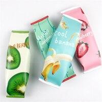 4 pcs/lot Fresh PU Leather Fruit Snack Pencil Case Stationery Storage Organizer Bag School Office Supplies Escolar Papelaria