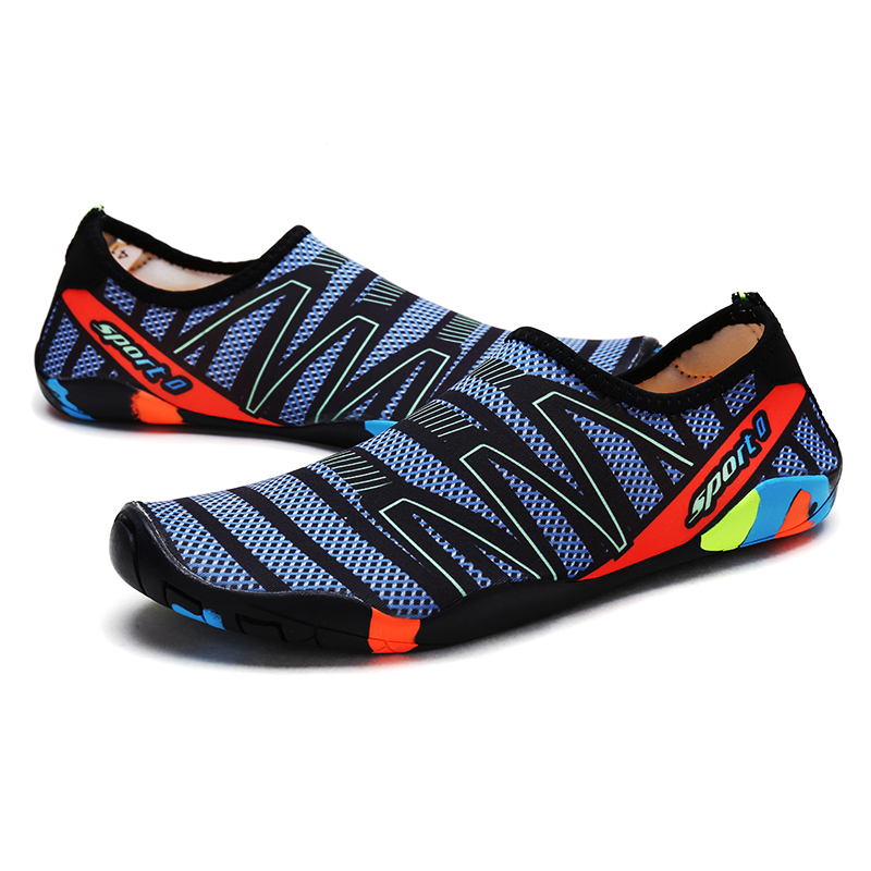 Summer Water Shoes Men Big Plus Size Aqua Sea Swimming Beach Shoes Woman Striped Colorful Shoes in Men 39 s Casual Shoes from Shoes