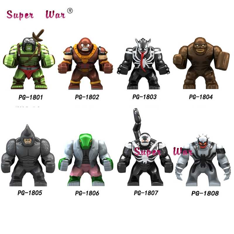 เดี่ยวขนาดใหญ่ Avengers Infinity War Super HERO Hulk Clayface VENOM Wolverine Juggernaut Anti-VENOM Building Blocks ของเล่น