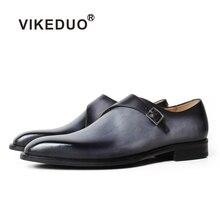 VIKEDUO/официальная Мужская обувь в стиле монах; серые туфли из натуральной кожи с квадратным носком; Свадебная офисная обувь; Мужские модельные туфли; Zapatos