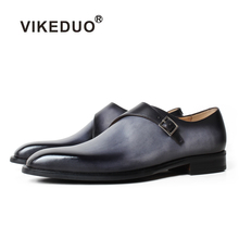 VIKEDUO Formal Monk Shoes For Men Genuine Leather Gray Patina Square Toe Wedding Office Footwear Male Dress Zapatos