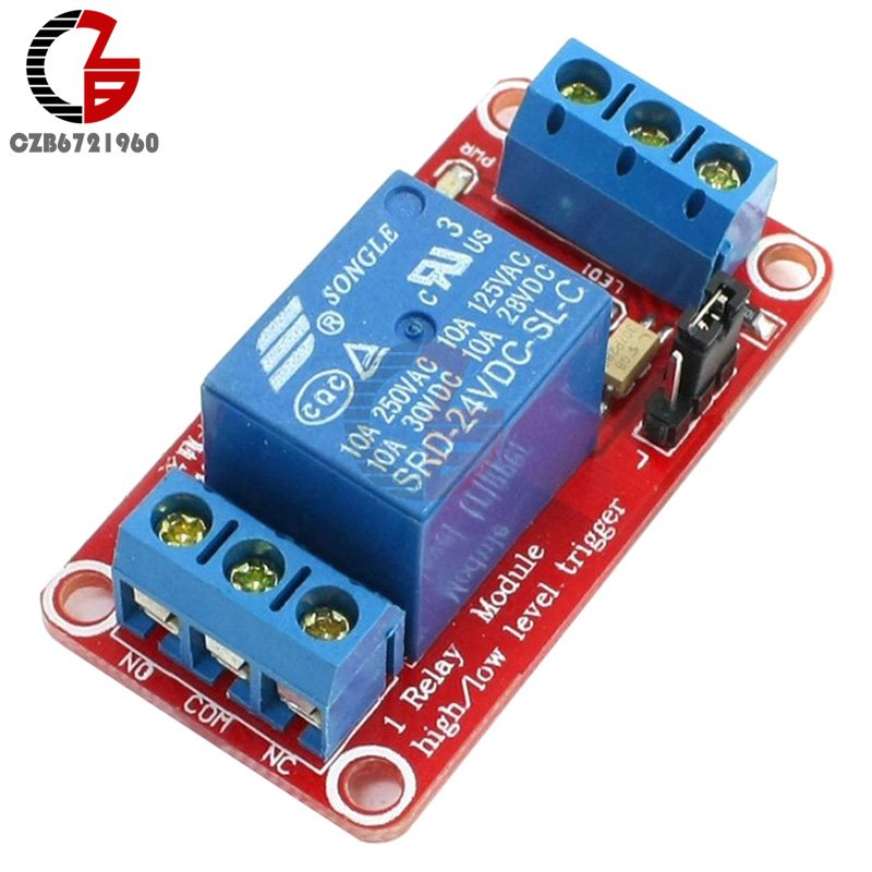 DC 24V 1 Channel Relay Module Board Shield with Optocoupler Isolation High and Low Level Trigger Switch Power Module For Arduino blue red sla 24vdc sl a 1 channel low level dc 24v coil power relay module
