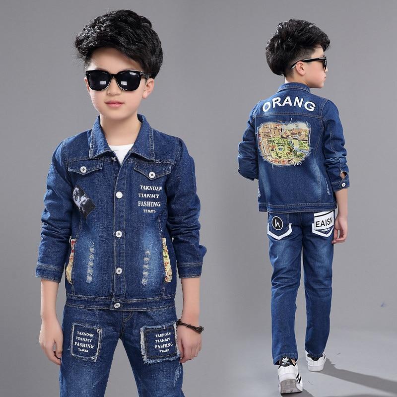 New 2018 Retail Children Set Map Pattern Fashion Suit Boys Jeans Sets Denim Jacket+Jeans Pants 2pcs Kid Spring Fall Clothing Set цена и фото