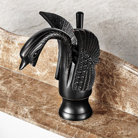Black Swan Faucet Antique Copper Bathroom Hot Cold Single Hole Faucet Black Finished Solid Brass Basin