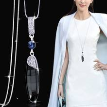 DuoTang Trendy Water Drop Gray Crystal Pendant Necklace Geometric Silver  Color Long Necklace For Women Gift Rhinestone Jewelry b4bb4c947bd2
