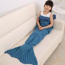 140 por 70 cm cauda de sereia cobertor para o miúdo Meninas malha saco de dormir super macia cama cobertor