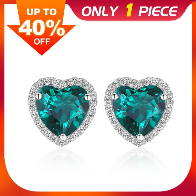 JewelryPalace Heart Of Ocean 2.2ct Green Created Emerald Love Forever Halo Stud