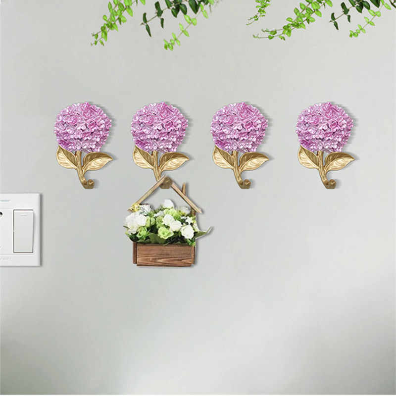 Креативный цветочный входной коврик для гостиной, крючок для ключей, настенное украшение, крючок для пальто, крючок, вешалка R1645