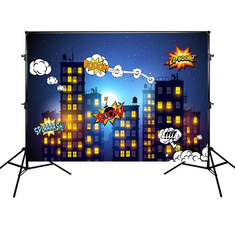 Mehofoto Super Hero Photography Background Birthday Party Backdrop Buildings and Night Props for Photo Shoot in Background from Consumer Electronics