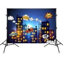 Mehofoto Super Hero Photography Background Birthday Party Backdrop Buildings and Night Props for Photo Shoot