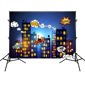 Image 1 - Mehofoto Super Hero Photography Background Birthday Party Backdrop Buildings and Night Props for Photo Shoot
