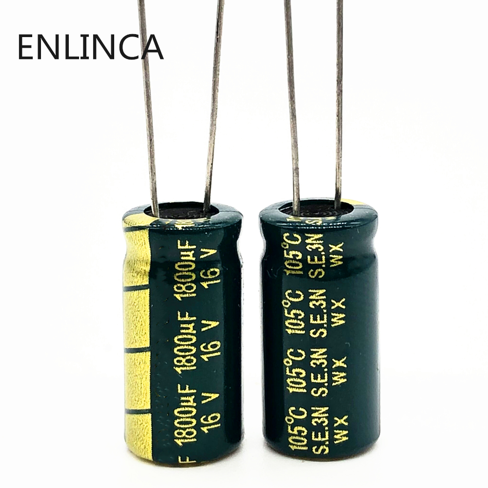 6pcs/lot P93 1800uf16V Low ESR/Impedance High Frequency Aluminum Electrolytic Capacitor Size 10*20 16V 1800uf