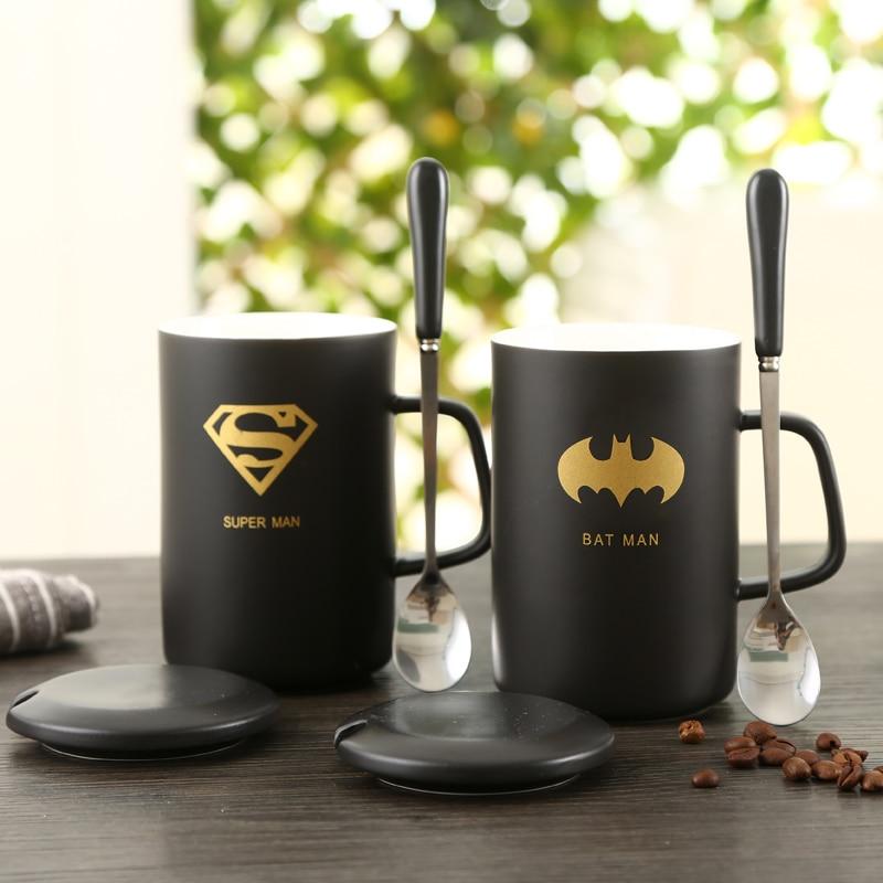 High quality Black Mug with lid ceramic cup creative coffee cup breakfast milk mug lid spoon