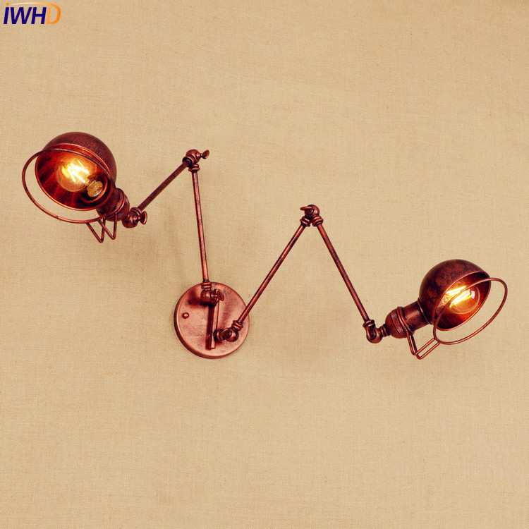 Rustic Antique Retro Wall Lights 2 Heads Style Loft Industrial Vintage Wall Lamp Sconce Swing Long