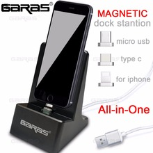 GARAS Dock Station,Magnet Desktop/Micro USB/Type c charging station For Android/Iphone Dock Station Magnetic Cable Dock Desktop