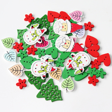 50pc natural print wooden Christmas Buttons Snowflake Tree heart Leaves sock Sewing buttons Scrapbook DIY Craft Wooden Buttons(China)