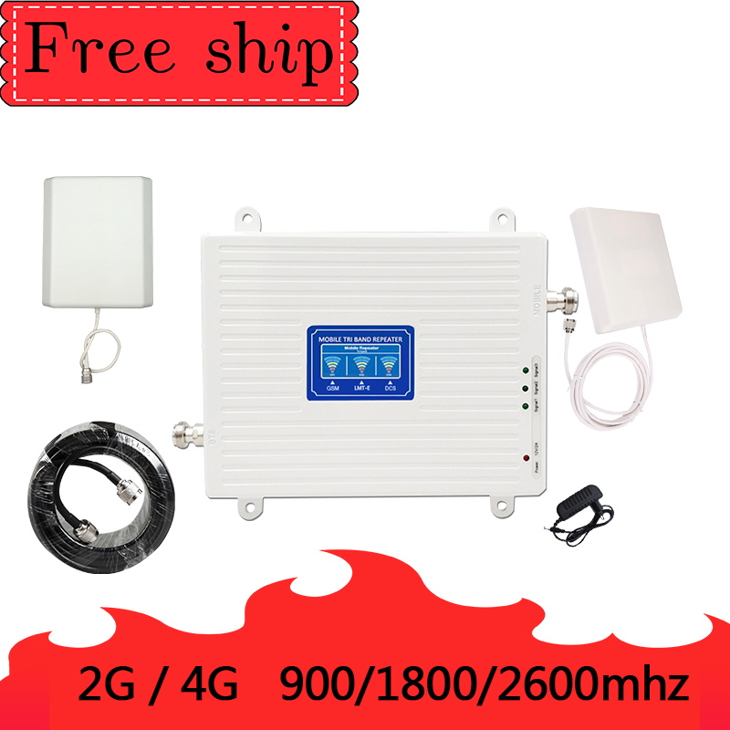900/1800/2600Mhz 2G 3G 4G  Mobile Phone Repeater 4G 2600Mhz Cellular Signal 70db Gain GSM 900/1800/2600Mhz Booster Amplifier