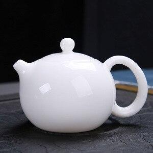 Image 5 - Dehua théière à bulles de jade, en porcelaine blanche pure, petite théière à bulles pour la maison, avec poignée de jade chaud et exquise