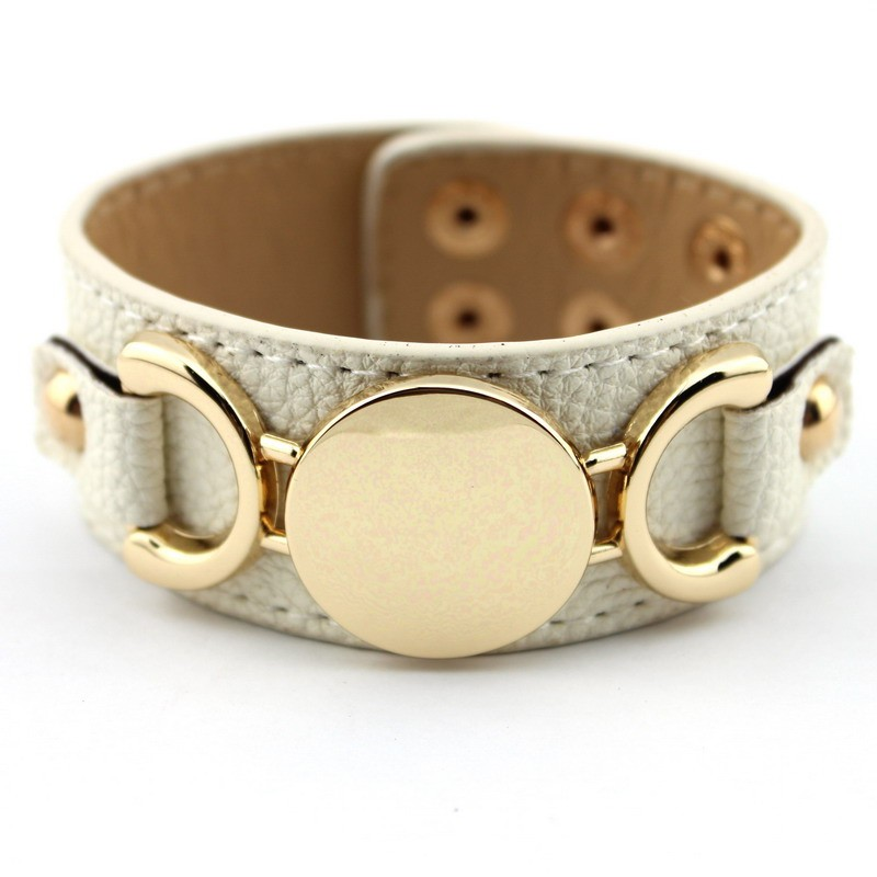 Wholesale Silver & Gold Blank Monogram Leather Wrap Bracelets for Women Fashion Snap Jewelry 28