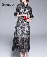 Genuo 2018 new womens elegant lace dress wedding party dress sexy night black lace dress vintage Autumn floral lace maxi dress