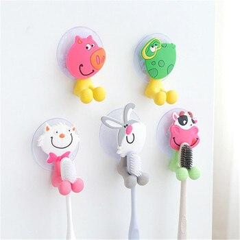 1 Uds lindo Animal de dibujos animados Sucker cepillo de dientes titular de la pared ventosa de baño gancho de succión percha familia regalo para Amiga