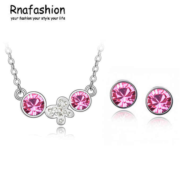 Jewelry Sets Fashion butterfly earrings simple language crystal necklace 133 + 005