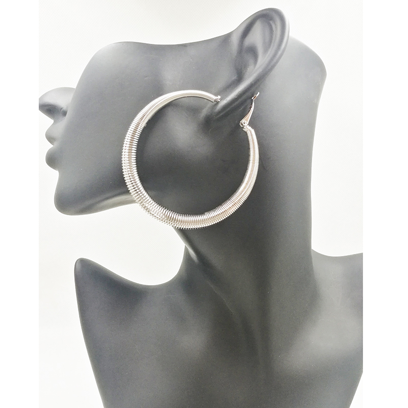 Fashion Gold Silver and Rose Hoop Earrings Elegant Jewelry 2019 Round Circle Large Earring For Female