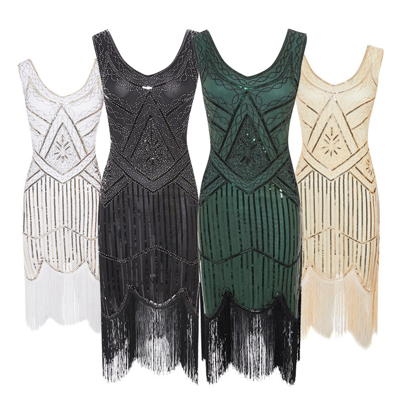 LADIES FRINGE FLAPPER SEQUINED FANCY DRESS SLEEVELESS ADULT CHARLESTON COSTUME THE GATSBY 1920'S 1930'S