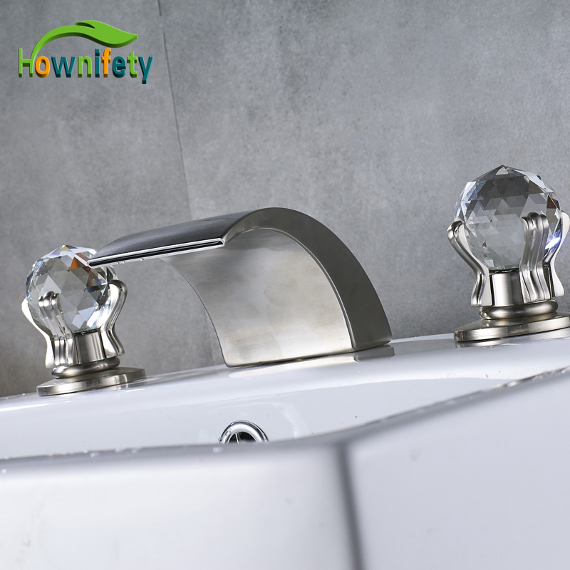 Brushed Nickle/Blackened Bathroom Basin Faucet Hot And Cold Water Faucet Three Holes Two Handle Mixers led color changing brushed nickle basin faucet hot and cold water faucet waterfall spout dual handle tap