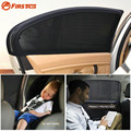 2 x Universal Car Window Cover Automotive UV Protection Shield Sun Shade Visor Side Window Sunshade Curtains - Black