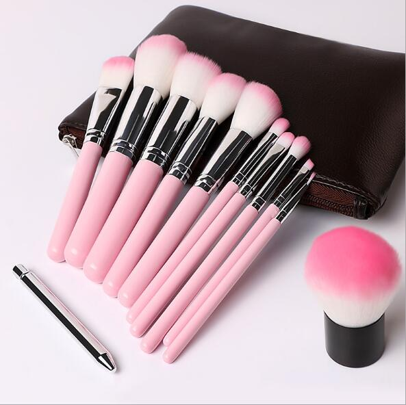 12Pcs Black Silver Handle Eyebrow Eyeshadow Eyelash Makeup Brushes Set Kit Tools with Free Cosmetics Bags Free Shipping 22pcs black makeup brushes set eyeshadow